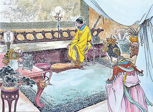唐太宗見長孫皇后如此莊重的打扮十分驚訝,長孫皇后莊重地回答道:「妾曾經聽說,如果皇上英明,那麼大臣就會十分忠心。如今陛下聖明,所以魏徵才敢於如此直言。妾忝為帝后,見到帝明臣忠,這麼好的事情,怎麼敢不朝服慶賀?」(繪圖:曹醉夢)