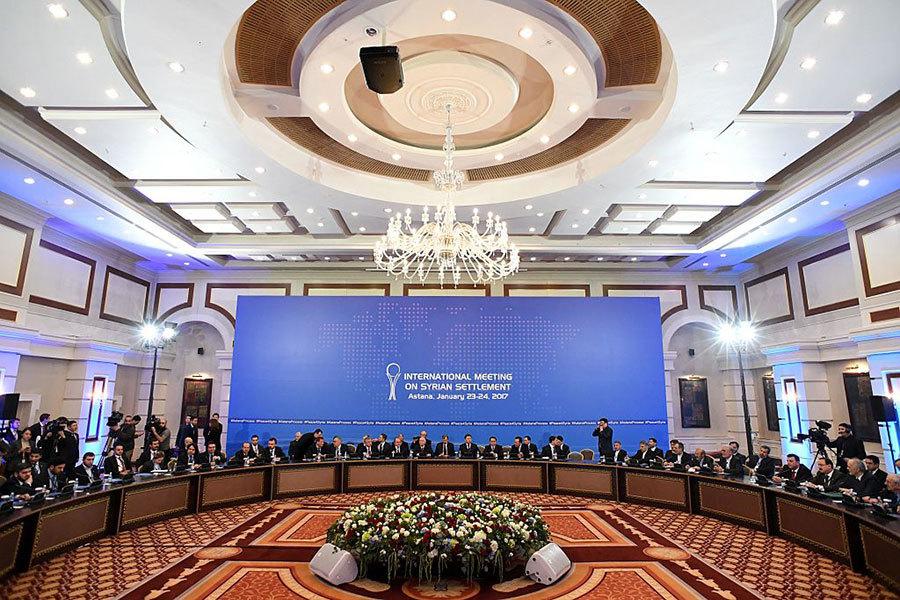 俄羅斯、伊朗和土耳其主導的敘利亞問題會談周一上午在阿斯塔納雷克索斯(Rixos)總統酒店舉行。(AFP/Getty Images)