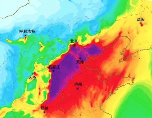 京津冀及周邊區域1月26日的PM2.5濃度預報圖。(網絡圖片)