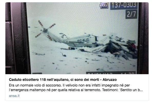 意大利日前發生雪崩導致一間四星級滑雪酒店30名職員及住客被活埋,目前死亡人數增至15人。然而禍不單行,一架載有傷者的救援直升機周二墜毀在中部山脈,機上6人全部喪生。(推特擷圖)
