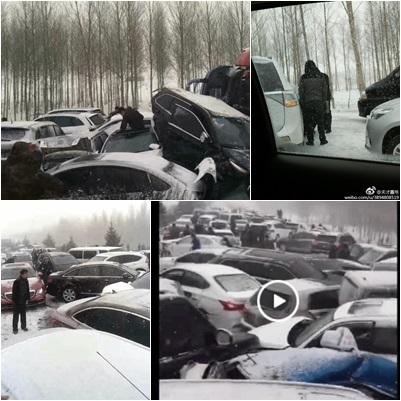 百輛車發生連環撞,網民稱現場慘烈。(合成圖片)