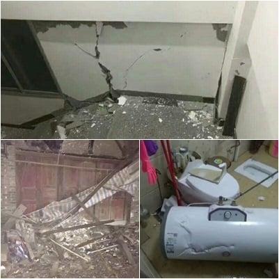 網民上傳照片顯示,地震造成房屋開裂,甚至有房屋倒塌。(合成圖片)