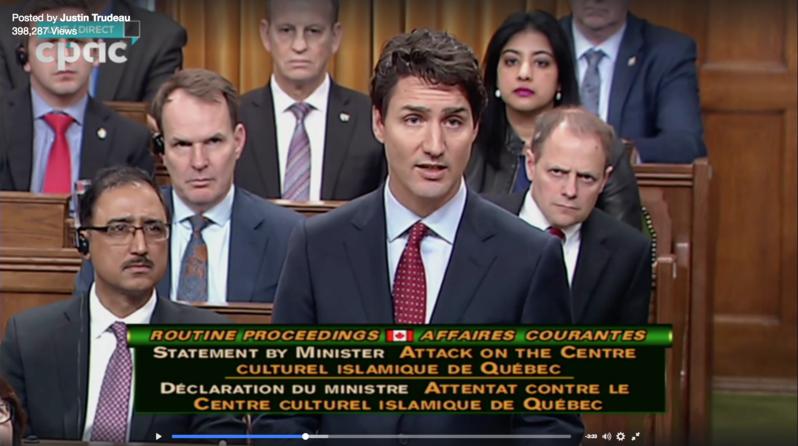 加拿大總理杜魯多30日在國會中向穆斯林喊話,強調「我們與你同在,3600萬人都在心碎,我們珍惜你們,這裏是你們的家。」(中央社)