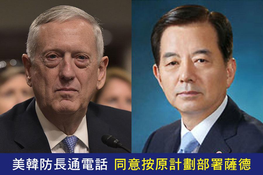 南韓國防部31日稱,南韓國防部長韓民求(右)和美國國防部長詹姆斯・馬蒂斯(左)31日上午通電話,雙方同意按原計劃推動「薩德」入韓。馬蒂斯即將在2月2日到訪首爾。(MANDEL NGAN/AFP/Getty Images、南韓國防部)