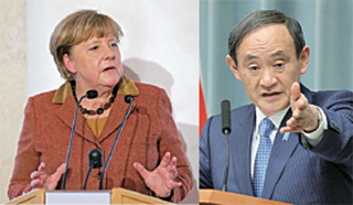 德國總理默克爾(左)和日本官房長官菅義偉(右)分別反駁特朗普及幕僚對兩國操控匯率的指控。(Getty Images)