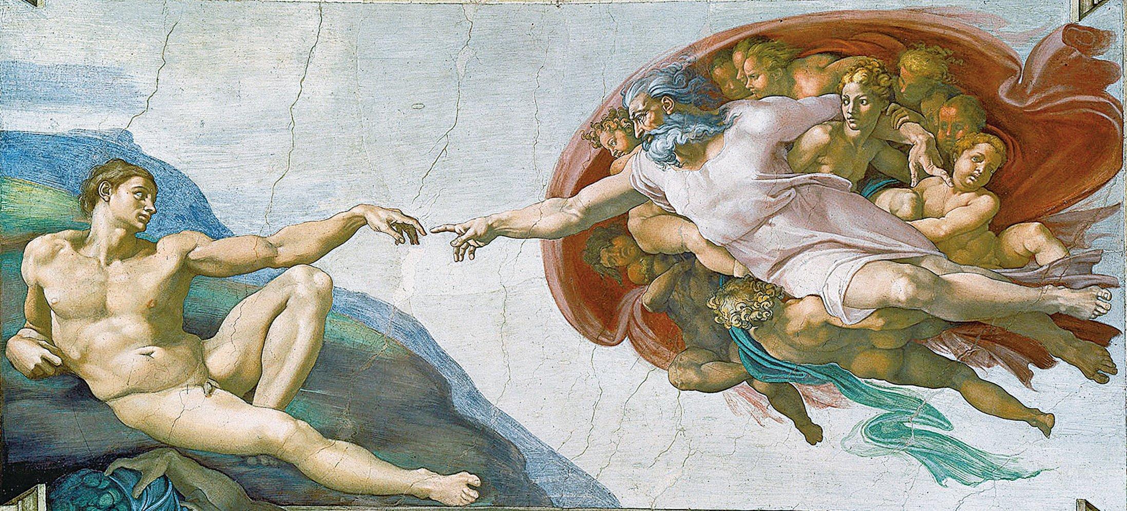 《創世紀》是米開朗基羅在西斯廷禮拜堂大廳天頂的壁畫,上圖《創造亞當》是《創世紀》的中心主題,「神按照自己的形像造人」也是世界許多民族共同的古老傳說。(維基百科)
