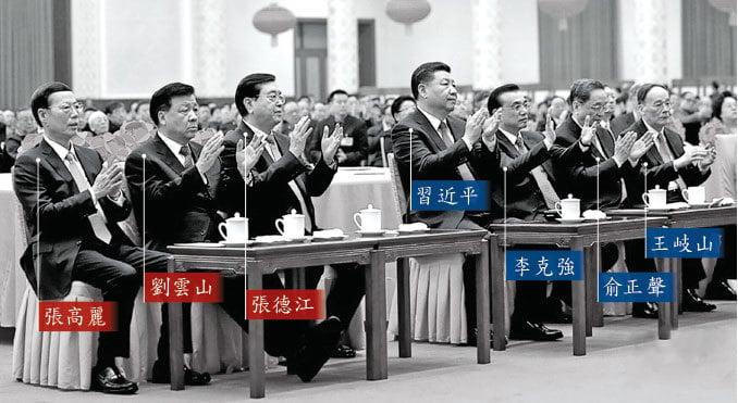 1月26日,北京當局舉行2017年新年團拜會,中共江派三常委被分在一邊,而且與習近平之間出現一條寬寬的「分水嶺」,史無前例出現了中共七常委「涇渭分明」分成兩派的一幕。(視頻截圖)