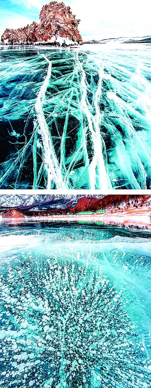 俄貝加爾湖冬季結冰後如異世界