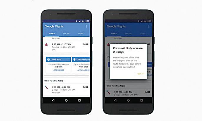 谷歌航班新功能:追踪價格變動。(視頻截圖)