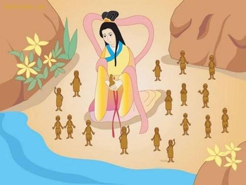 相傳女媧在這初七用黃土造出了人,人類就以這一天為自己的生日,每年的這天,就用紙剪出一串串的連體小人來祭祀造人之主,以求人丁興旺。(網絡圖片)