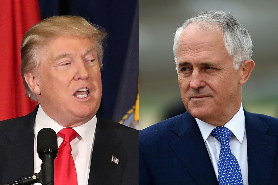 特朗普(左)上周末與美國的最堅定的盟友之一澳洲總理特恩布爾(右)通電話,按理說應該是通暢無阻,但卻被奧巴馬政府留下的一個難民協議鬧得不歡而散。白宮發言人稱,特朗普對奧巴馬政府的難民協議表示非常失望。(Getty Images)