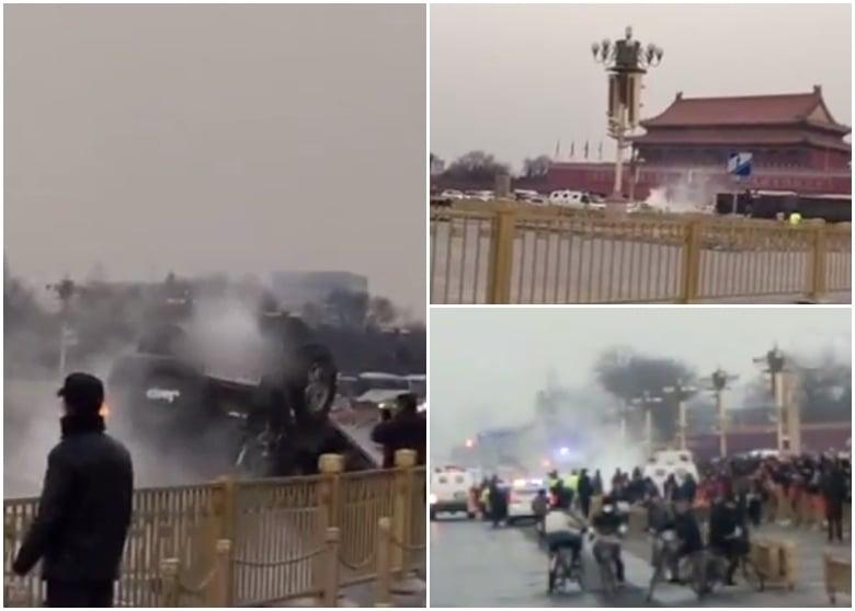 周五(3日)在北京天安門一輛貌似軍車失事側翻,官方對事件模糊其詞,只稱有兩人受傷,拒絕透露詳情。(網絡圖片)