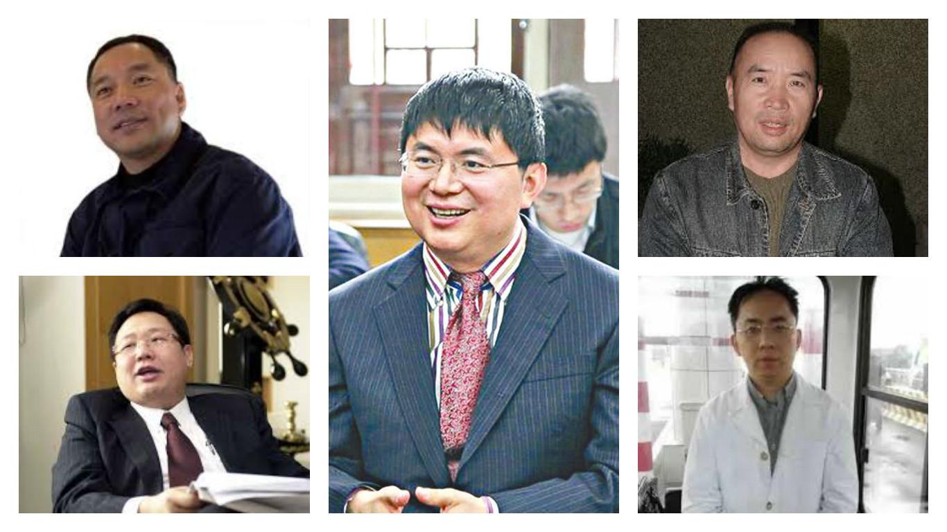 中國大陸經濟崛起的過程當中,造就了很多新興的富裕階層,而在中國大陸政治經濟環境下,他們往往與中共官員有不同程度的聯繫,在相互利用中謀取個人利益。有時候,他們也會成為政治體系打擊的目標。以下是近年一些捲入類似「麻煩」的中國商人。圖為其中五名中國商人:郭文貴(左上)、徐明(左下)、肖建華(中)、賴昌星(右上)、徐翔(右下)。(大紀元合成圖)