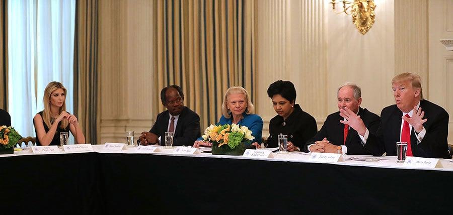 伊萬卡本周參與特朗普和企業執行長舉行的政策會議。(Chip Somodevilla/Getty Images)