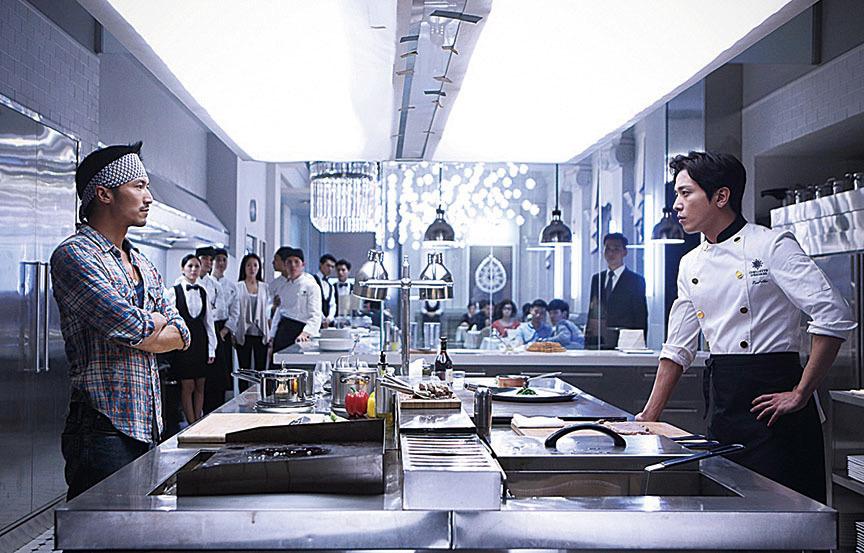 謝霆鋒與鄭容和合作拍電影《決戰食神》。(網絡圖片)
