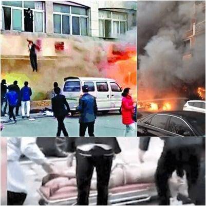 足浴店火災現場火勢凶猛,有人跳樓逃生,目前已致18人死亡。(網絡圖片)