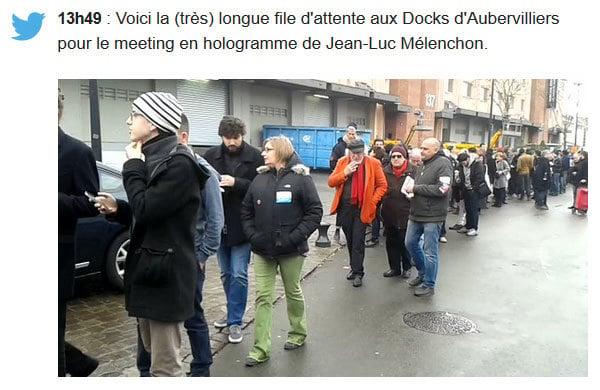 圖為眾多法國民眾前往參加極左派候選人梅朗雄的造勢會。(網絡擷圖)