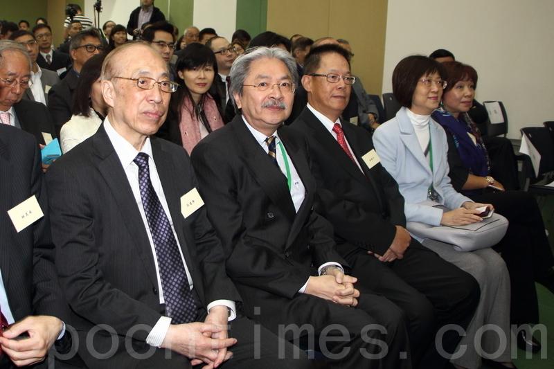 曾俊華等3名特首選舉參選人,昨日先後出席「香港金融業志同會」座談會,香港金融業志同會表明不會綑綁提名。(蔡雯文/大紀元)