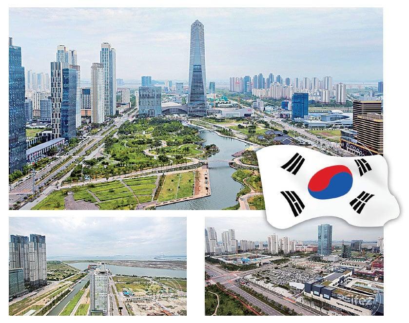 仁川經濟自由區(IFEZ),是南韓政府為打造21世紀國際競爭中具備最高競爭力的東北亞商務中心城市,主要範圍包括仁川國際機場和港灣在內的松島(松島地區)、永宗(永宗地區)、青羅(青羅地區)。圖為松島區面貌。