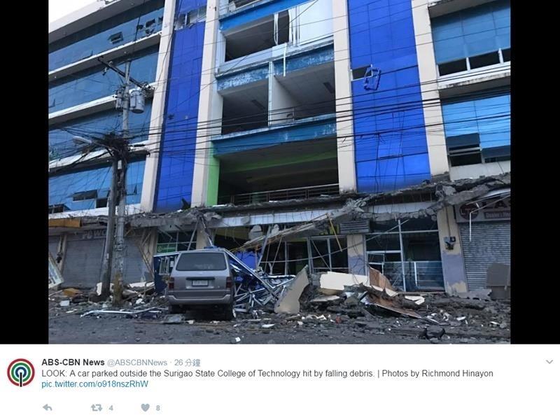 菲律賓南部蘇瑞高市2月10日晚間發生黎克特制6.7級強震,有多棟建築物出現裂痕或倒塌。(ABS-CBN新聞網推特擷圖)