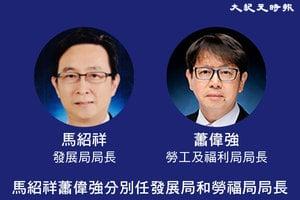 政府官員任命 馬紹祥蕭偉強分別任發展局和勞福局局長