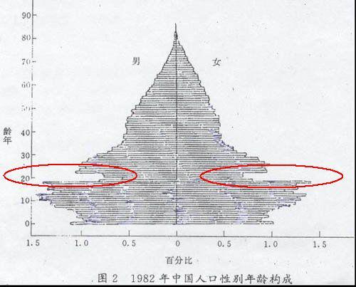 1982年中國人口性別年齡構成。(資料圖片)