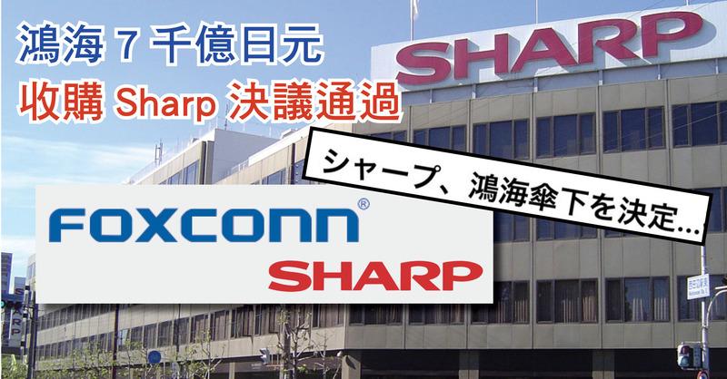 鴻海7千億日元收購Sharp決議通過