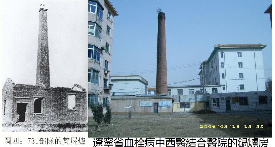 遼寧省血栓病中西醫結合醫院的鍋爐房對比731部隊的焚屍爐。(明慧網)
