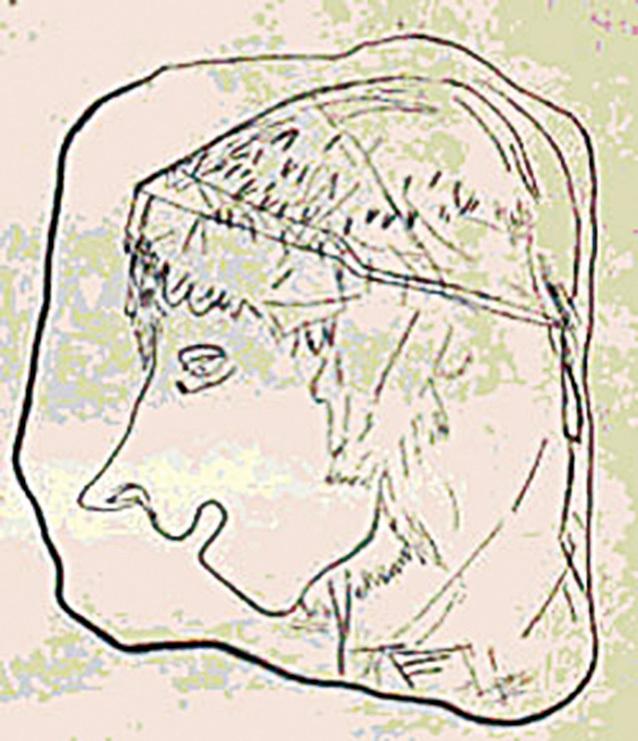 圖片3 是《馬格德林文化人類圖畫圖解》書中介紹的石板人像,頭上帶著帽子。