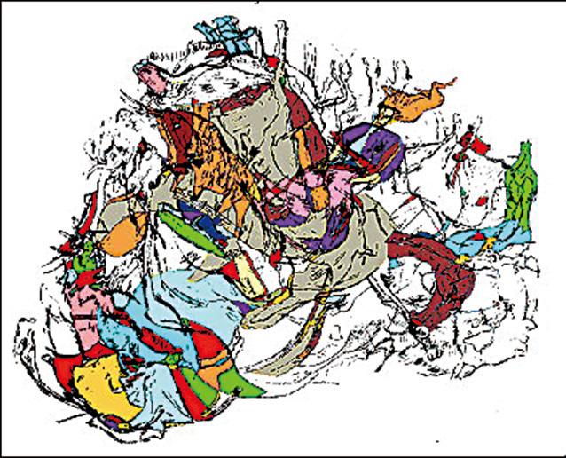 如圖片4所示, 複雜的動物圖形中有一個騎士。(Cave of Les Trois Freres, France,圖片來源:Jiri Mruzek)