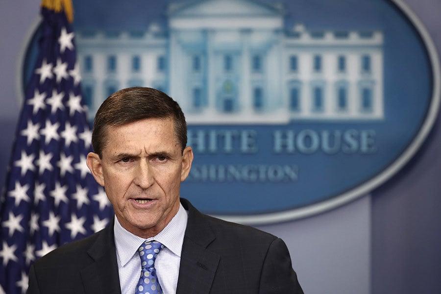 特朗普任命的美國國家安全顧問弗林,因在特朗普就職前與俄羅斯駐美大使通電話引發質疑,最後迫於壓力於2月13日晚宣佈辭職。(Win McNamee/Getty Images)