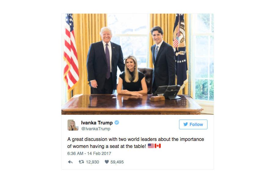 伊萬卡坐白宮橢圓辦公室總統椅 引發熱議