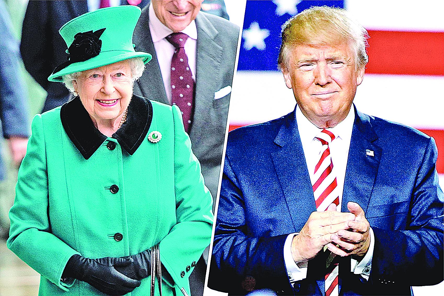 特朗普尚未就職,就受到女王邀請訪英,而2名前任小布殊和奧巴馬就職已久才接獲邀請。(Getty Images)