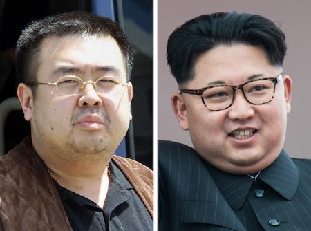 金正男(左)和金正恩(右)。(TOSHIFUMI KITAMURA,ED JONES/AFP/Getty Images)