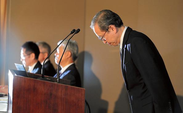 1月14日,東芝社長網川智在記者會上,首次透露出收購案存在三方面的失算。(Getty Images)