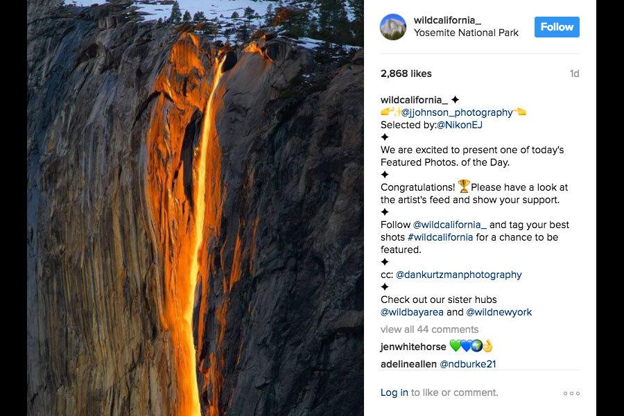 每年2月,美國北加州著名的優勝美地(Yosemite)國家公園會出現一幕「火瀑布」(firefall)奇觀。(instagram截圖)