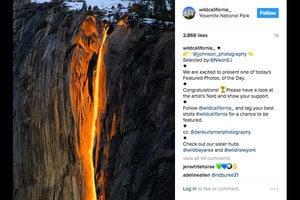 美優勝美地「火瀑布」奇景 似熔岩傾瀉而下