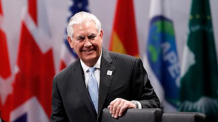 北韓上周日(12日)再次發射彈道導彈後,美國國務卿蒂勒森周五(17日)敦促中共動用一切可能的手段,約束北韓破壞地區穩定的行為。(Friedemann Vogel/Pool/Getty Images)