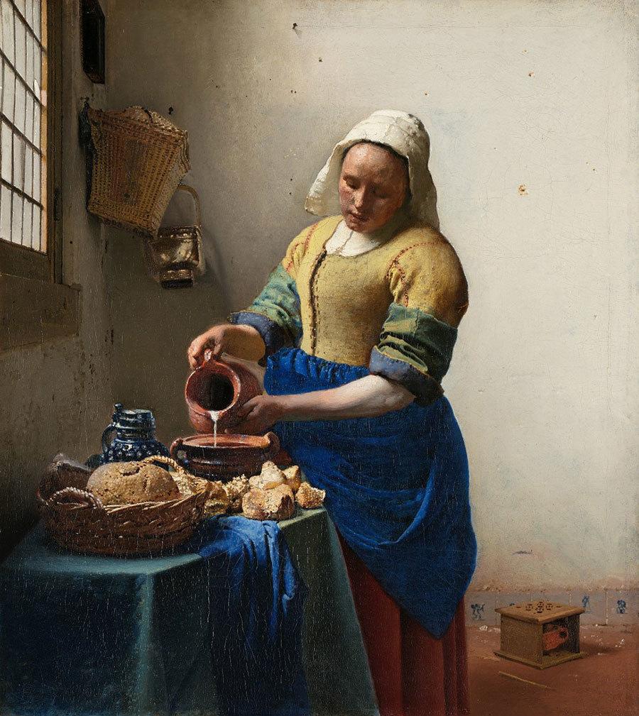 荷蘭黃金時代風俗畫名家揚・弗美爾的經典畫作《倒牛奶的女僕》。(維基百科)