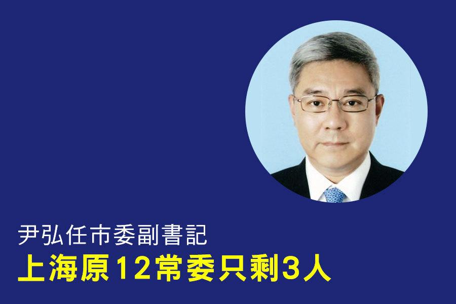 尹弘任市委副書記 上海原竹二常委只剩三人