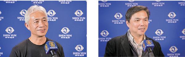 立法會議員梁耀忠(左)與資深對沖基金經理人錢志健(右)都特別從香港趕到台灣觀賞神韻,希望神韻能早日在港演出。(陳柏州/大紀元)