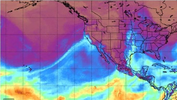 根據一項研究,造成美國西部極端風暴氣候的原因,65%是因為「天上的那條河」。(推特擷圖)