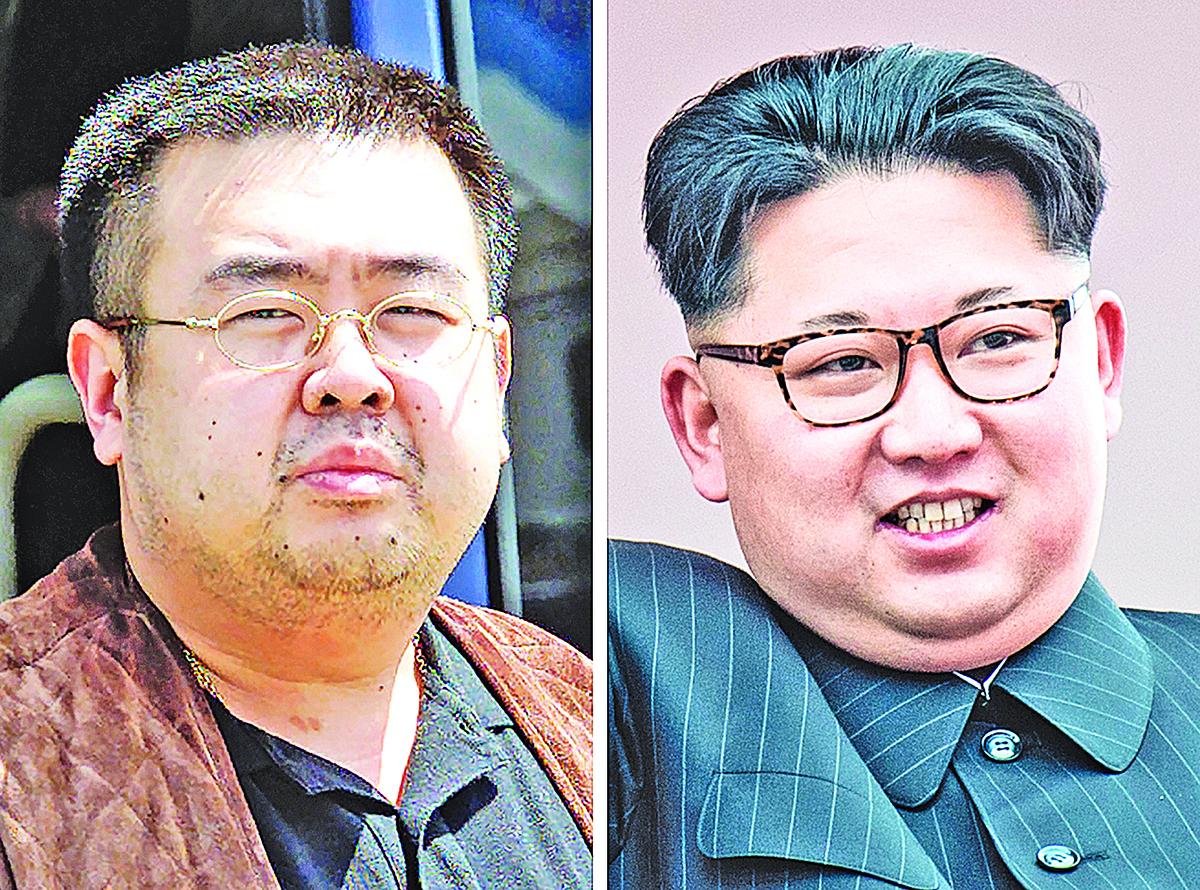 金正男(左)遭暗殺,右為金正恩。(Getty Images)