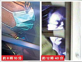 曾蔭權坐囚車赴法庭時戴上招牌「煲呔」和口罩(左);中午離開高等法院時,曾蔭權雙眼緊閉,被傳媒包圍拍照(右)。(潘在殊、蔡雯文/大紀元)
