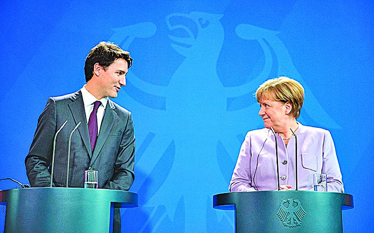 德國總理默克爾和加拿大總理特魯多。(Getty Images)