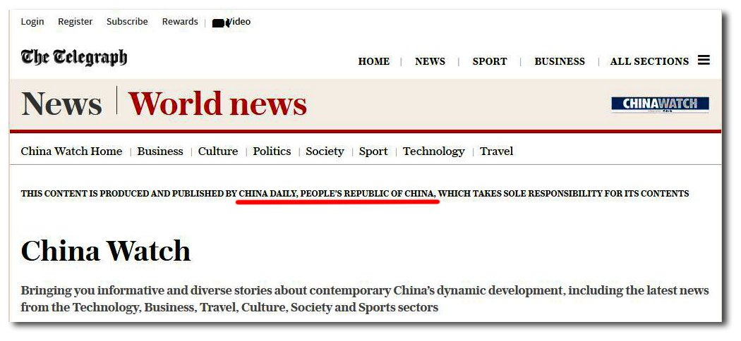 英國《每日電訊報》網站,由《中國日報》提供內容的「中國觀察」欄目。(網頁擷圖)