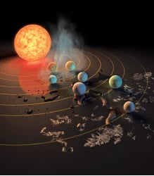 Trappist-1恆星屬「超冷矮星」,擁有七顆與地球大小相近、可能有生命的行星,被科學家稱為「七大奇蹟」。(NASA)