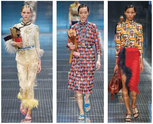2017 Prada春夏的時裝系列,中國旗袍的元素被融入其中。另外,這季推出的服裝也延續Prada俏皮可愛的風格:印花圖案、撞色,波普藝術、格紋、花紋和羽毛等設計款式和材質被大量運用,整體造型活潑、自由、浪漫。