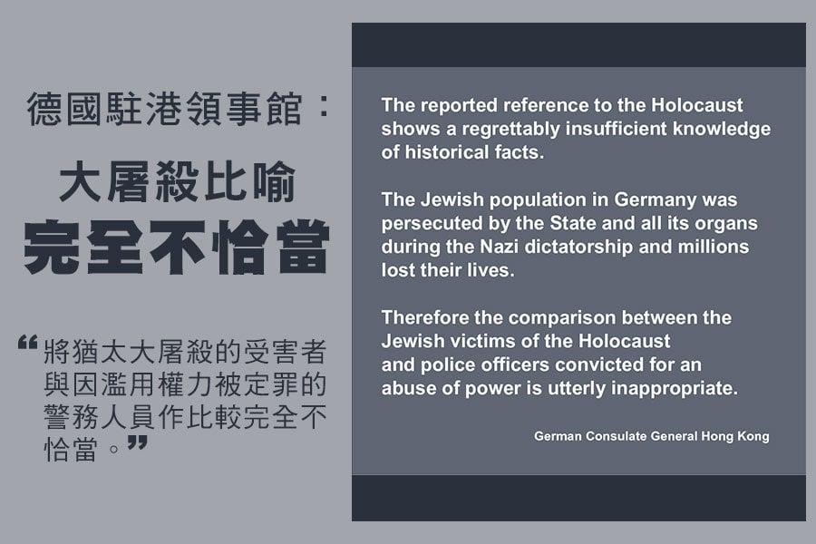 德國駐港領事館今日(24日)在其官方Facebook發佈聲明,回應有廣泛報道指一名警務人員將香港警察與猶太大屠殺的受害者作比較,指有關比較完全不恰當,亦反映發言者對歷史事實缺乏認知。(德國駐港領事館Facebook)