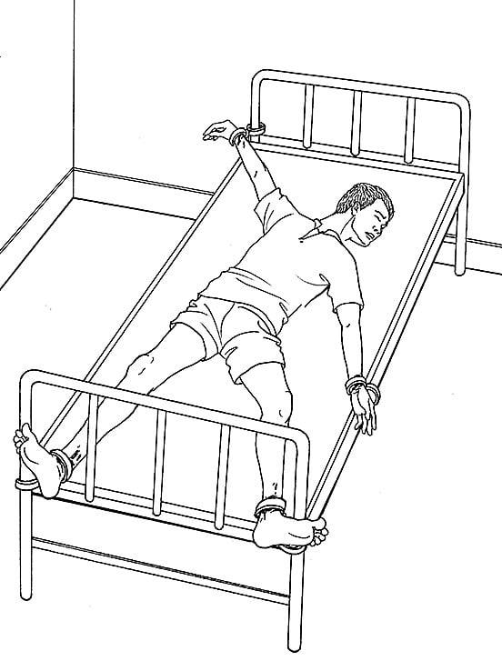 演示圖:酷刑「燕飛」:法輪功學員的雙腳被分別銬在病床下端的左右,為了讓人雙臂沒有活動餘地,在分別銬人的左右手時,故意將左右手以伸展的極限位置左上右下(或左下右上)的銬上,以達到不讓人動的目的。此刑罰使人只能長時間保持變形而固定的姿勢,不能翻身,大小便無法自理。長此以往會產生嚴重的肌肉損傷,精神煩躁,疥瘡濕疹。(明慧網)